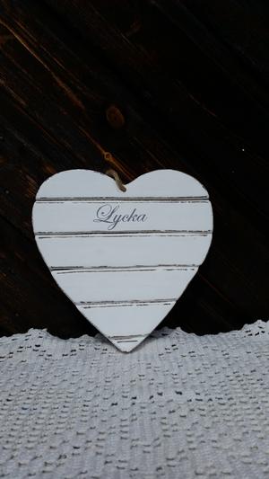 Hjärta, Lycka, vit 19x19cm