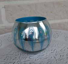 Peacook turquise, 8x10cm, silver/turquise, majaslyktor