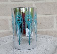 Peacook turquise, 10x15cm, silver/turquise, majas lyktor