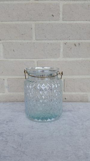 Glasvas/ljuslykta med metalhandtag, 14,5x17cm