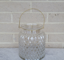 Glasvas/glaslykta med metallhandtag 17,5x20cm
