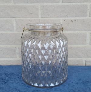 Glasvas/glaslykta med metallhandtag, 21.5x25cm