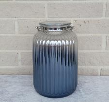 Glaslykta med järnhandtag, 17x26cm