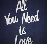 Skylt, väggord  All you need is love, 90cm