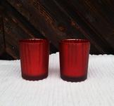 Glaslykta med mönster, röd, 8 cm